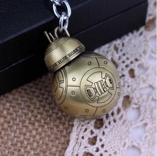 chaveiro star wars bb8 metálico prateado e dourado