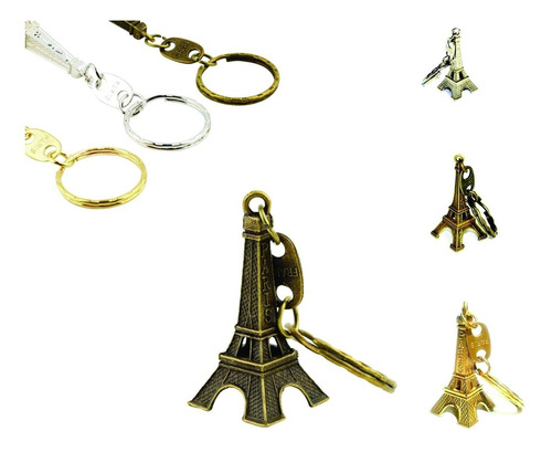 chaveiro torre eiffel bronze, prata, dourado.