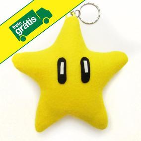53466d4e5f18a 10 Chaveiros - Lembrancinha Estrela Super Mario Bros Feltro