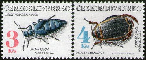 checoslovaquia 2 sellos mint insectos = escarabajos año1992