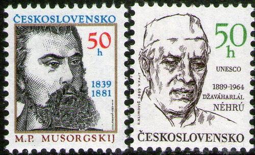 checoslovaquia 2 sellos nuevos personalidades = nehru 1989