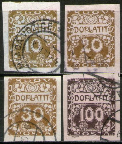 checoslovaquia serie x 4 sellos usados tasa años 1912-22