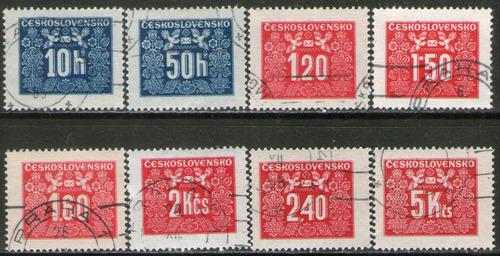 checoslovaquia serie x 8 sellos usados tasa años 1946-48