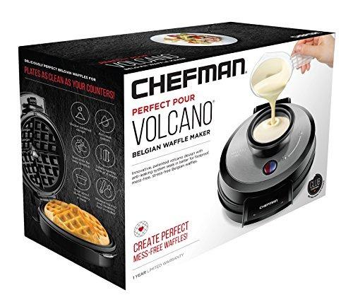 chefman belgian perfect pour volcano waffle maker belga, sin