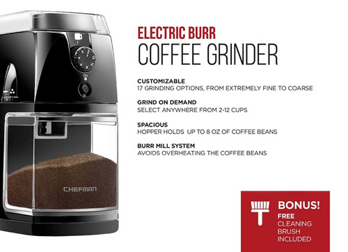 chefman coffee molino eléctrico para 2-12 tazas 17 opciones