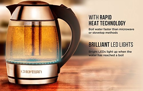 chefman  tetera de té sin cable de vidrio eléctrico con free