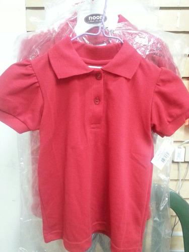 chemise escolares blanca y rojas polito