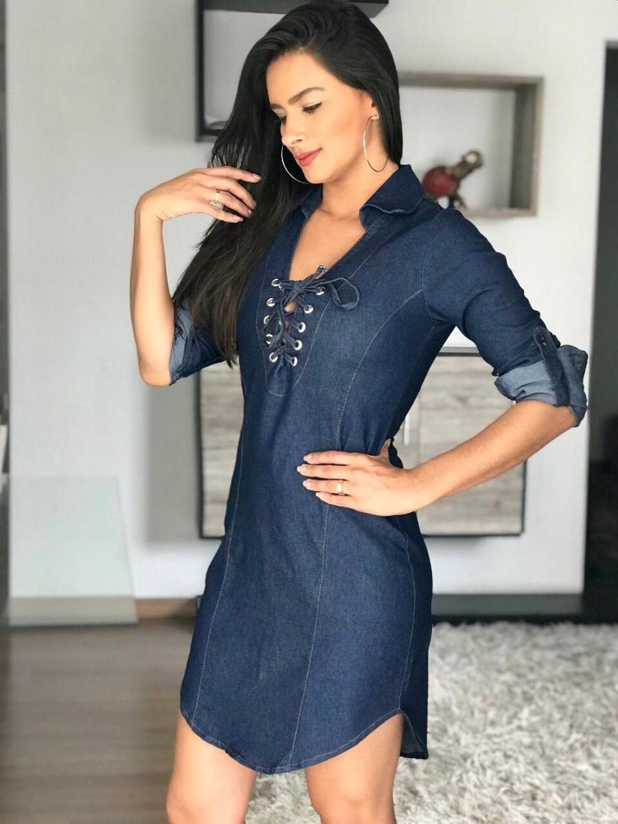 95effc6af771 chemise vestido jeans leve manga longa com ilhos no decote. Carregando zoom.