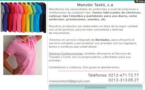chemises - camisas tipo columbia - bordados - uniformes