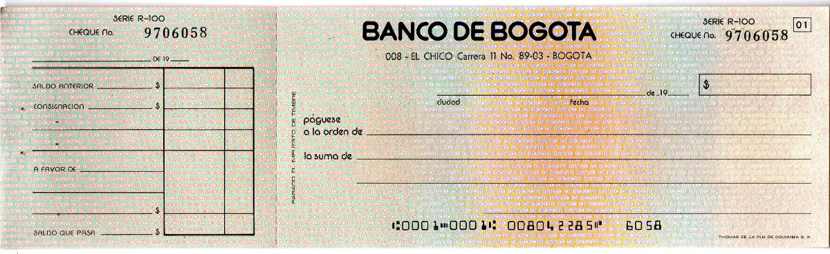 Cheque antiguo banco de bogot colombia 1989 oferta 3 for Banco de bogota