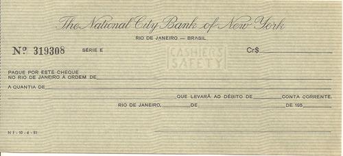 cheque do the national city bank of new york ** antigo **