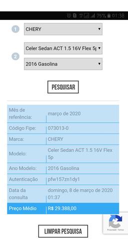 chery celer 1.5 act flex 4p 2016
