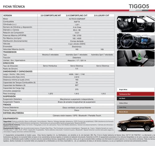 chery tiggo 5 2.0 4x2  luxury manual  entrega inmediata