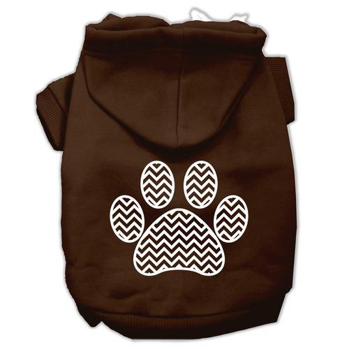 cheurón pata pantalla impresión pet hoodies marrón tamañ