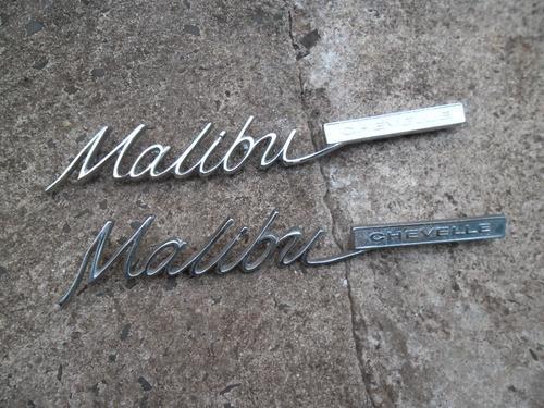 chevelle malibu - par de emblemas malibu cromados novos