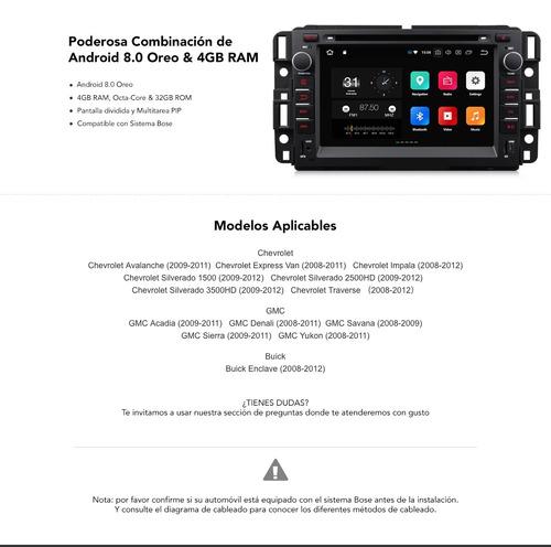 chevrolet gmc android 8.0 wifi gps mirrorlink bt dvd bt sd