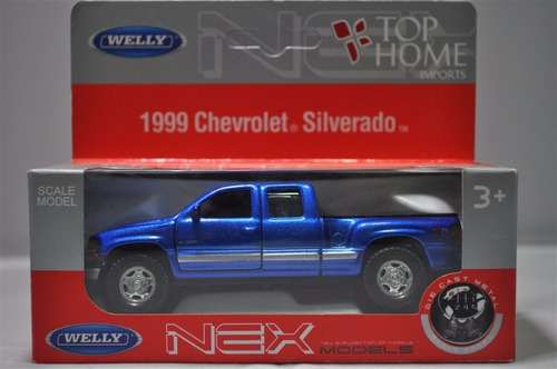 chevrolet pick-up silverado 1999 1:34-1:39 welly - azul