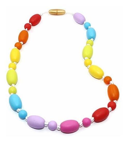 ni/ños autistas paquete de 5 colgantes de silicona de color arco/íris para masticar para masticar juguetes para beb/és con dentici/ón,autismo TDAH SPD,motor oral,ansiedad Collar sensorial para masticar