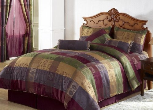 chezmoi collection gitano jacquard patchwork juego de cama