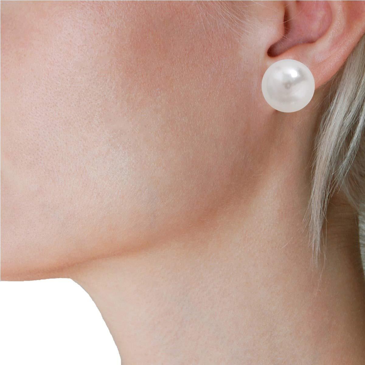 0bf7575aa9f7 chic humilde simulados perla espárragos - pendientes grandes. Cargando zoom.