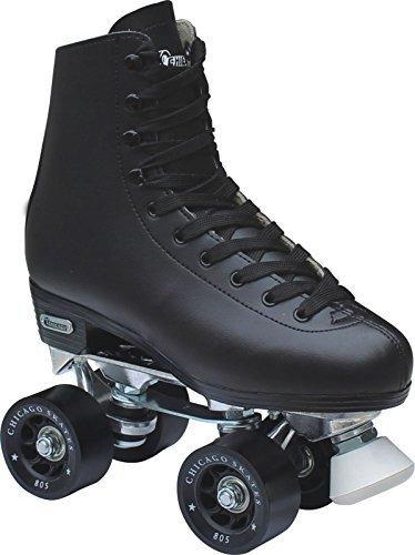 chicago hombre cuero alineado rink roller skate negro