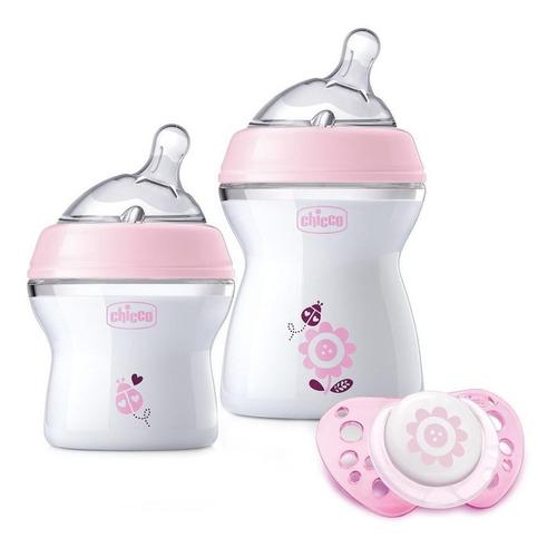 chicco set de regalo natural feeling niña, color rosa