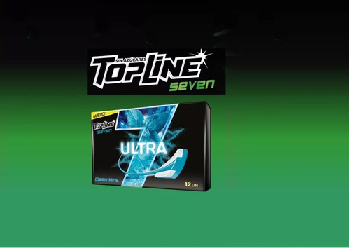 chicle topline seven ultra   clear mint   caja x 12u