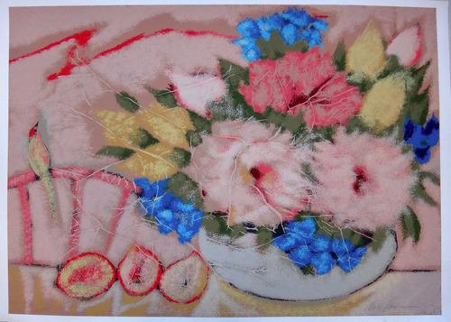 chico ferreira - composição c/ flores e pássaros - única!!!