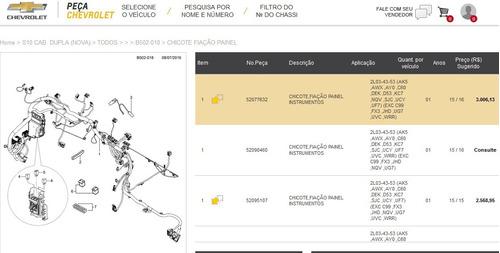 chicote fiacao painel instrumento s10 15/16 novo 52077632 +