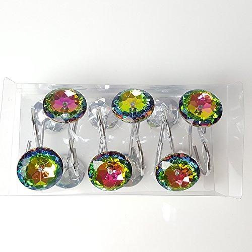 chictie 12 piezas claro cristal colorido cortina de ducha an