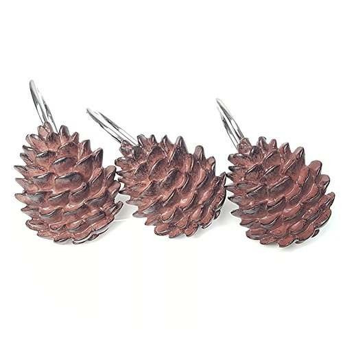 chictie pinecone cortina de ducha anzuelos anillos set para