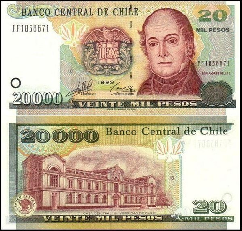 chile 1999 chile 20.000 pesos billete uncirculated