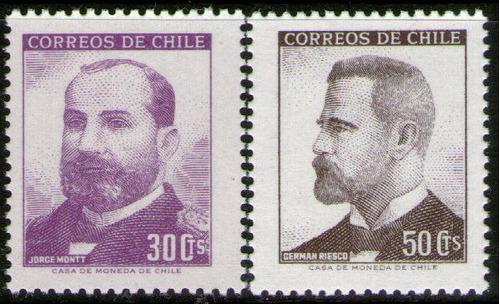 chile 2 sellos mint jorge monnt y germán riesco año 1966