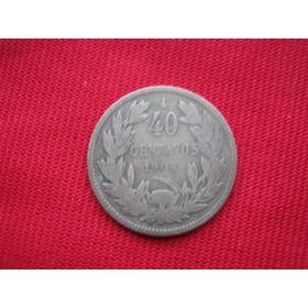 Chile 40 Centavos 1908 Plata