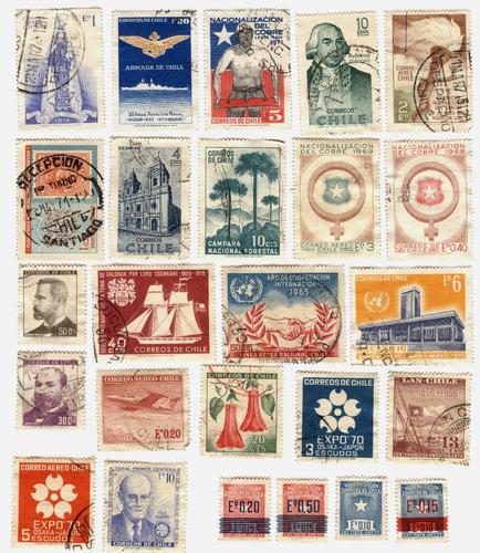 chile 43 timbres postales usados años 60/70