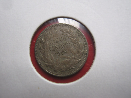 chile 5 centavos 1915 plata