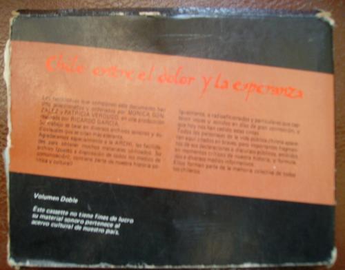 chile entre el dolor y la esperanza 2 casettes de audio 1973