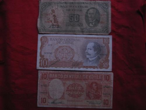 chile lote de 5  billetes