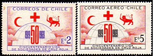chile serie completa x 2 sellos mint 50° cruz roja año 1969