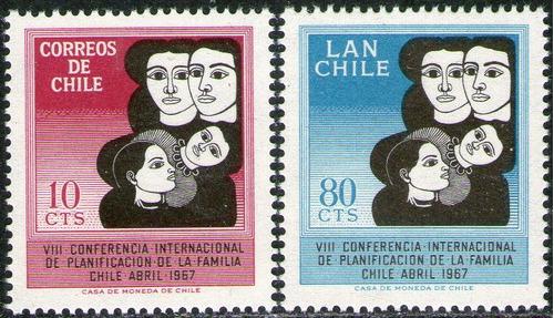 chile serie con aéreo x 2 sellos mint familia año 1967