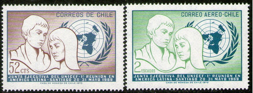 chile serie con aéreo x 2 sellos nuevos unicef año 1971