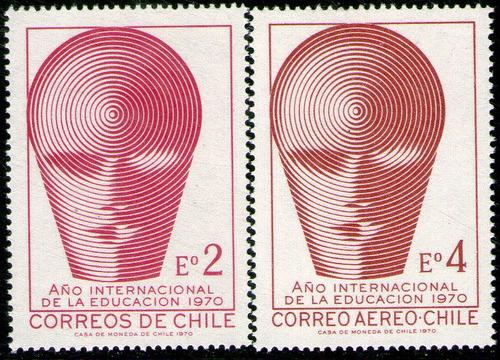 chile serie x 2 sellos mint año de la educación año 1970