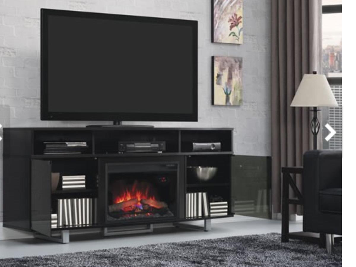 Chimenea con mueble para tv y componentes electr nicos 1 - Chimenea electrica mueble ...
