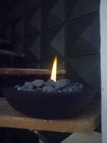 chimenea ecologica concreto color negro estilo minimalista