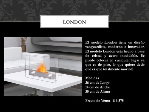 chimenea ecologica de etanol modelo london