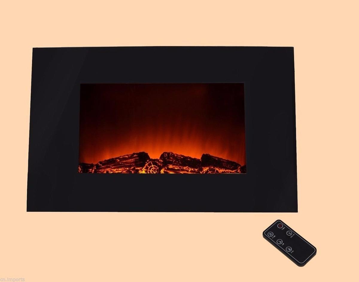 Chimenea elecrica de pared pantalla plana marco negro 36 - Biochimenea de pared ...