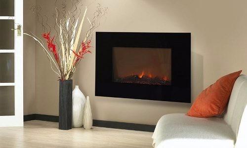 Chimenea elecrica de pared pantalla plana marco negro 36 5 en mercado libre - Marco de chimenea ...