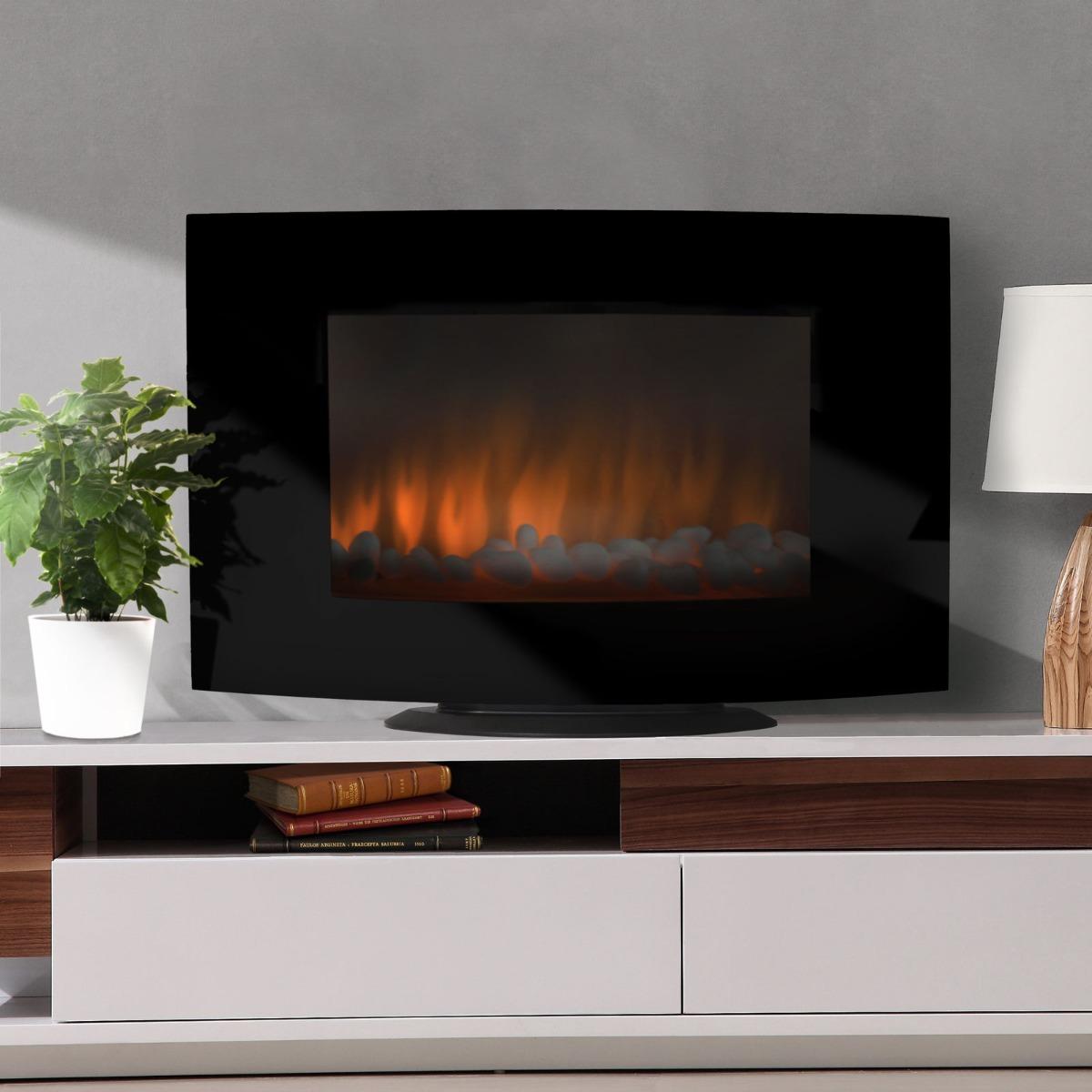 Chimenea electric de pared de pie ajustble 1500 w glass xl - Chimenea de pared ...