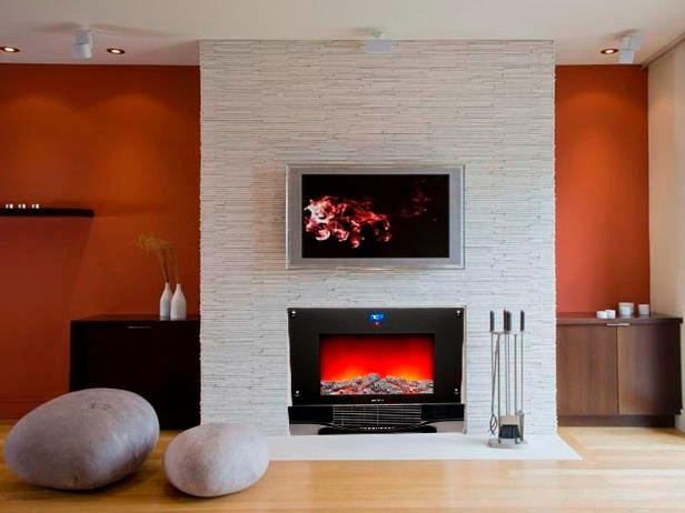 Chimenea electrica bionaire con control pared piso con - Poner chimenea piso ...