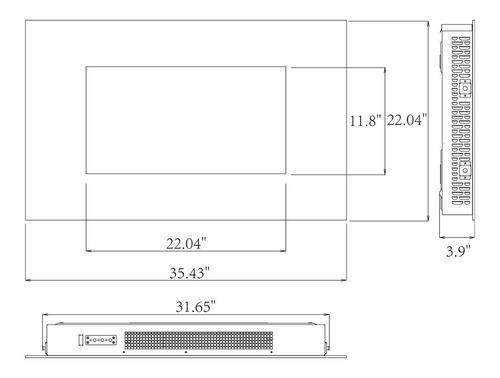 chimenea eléctrica de pared control remoto leds 36 pulgadas